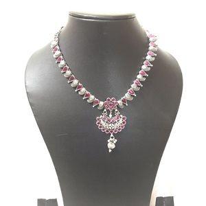 Jewelry - Ruby Oxidized Adjustable Necklace